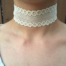 White Crochet Flower Choker Necklace
