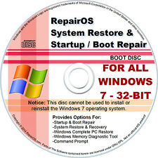 Windows 7 32 Bit CD - BOOT / STARTUP Repair & Restore / Recovery Disc + DOWNLOAD