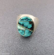 Vtg Pawn Southwestern Sterling Silver Opal Turquoise Ring sz 11