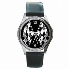 Racing Checkered Flag Nascar Indy Race Fan Leather Watch New!