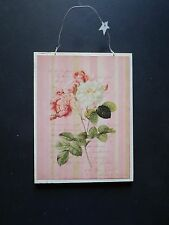 shabby chic plaque sign florals flowers roses french picture