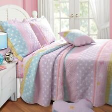 POLKA DOTS Twin (single) QUILT SET : GIRLS BUTTERFLY FLOWER PINK BLUE COMFORTER