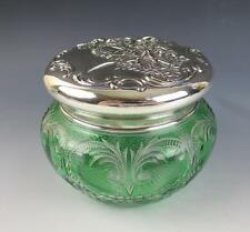 Large ABP Stevens & Williams Engraved Glass REDLICH STERLING Jar Cut to Clear