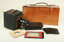 BAUSH   LOMBE 3 1/4X4 1/2   TESSAR LENS W/GROUND GLASS BACK  FILM HOLDER+CASE