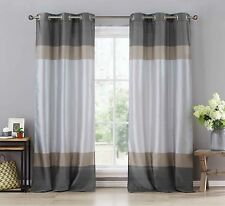 """Two Silver/Gray/Taupe Window Curtain Panels: Faux Silk, Silver Grommets, 78""""x96"""""""
