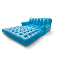Inflatable Blue Couch Chair Double Air Bed Sofa, Camping Couch Beach Lounge Lazy