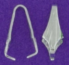 1 STERLING SILVER FLUTED PENDANT PINCH BAIL, 9 X 4 MM, ICE PICK, HOLDER