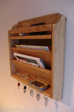 "16"" w x 18"" h Handcrafted Mail Magazine Organizer, Key Hook Rack Wood Wall G Oak"