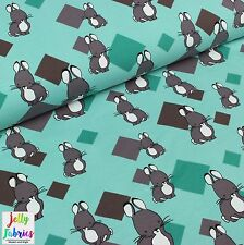 Printed Stretch Jersey Knit Fabric- Bunny in Turquoise - 95%Cotton 5%Lycra Metre