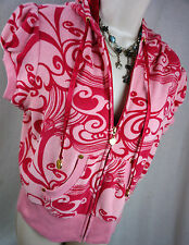 Bebe Size Large Pink Terry Cloth Hoodie Gold Accent Womens Shirt Top Blouse L