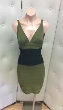 Herve Leger Green and Black V Neck Bodycon Dress - Size S - Sleeveless