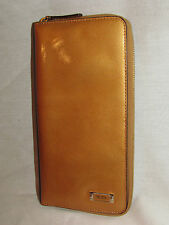 Tumi Zip Around Passport Case Travel Documents ID Wallet Clutch Gold, Leather In