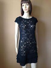 JESSICA SIMPSON Black LACE unlined SHEATH DRESS Tiered Hem Sz 4 NWT NEW
