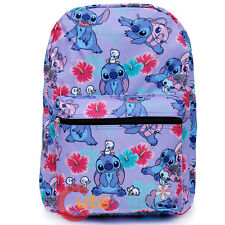 "Lilo and Stitch Large School Backpack with Angel 16"" AOP Book Bag Purple Aloha"