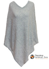 100% Cashmere Poncho - Natural Grey Color Pure Cashmere - Hand Made in Nepal