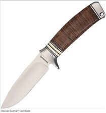 Couteau de Chasse Browning-Acier Carbone/Inox Manche Cuir/Os Etui Nylon BR814