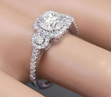 18k White Gold Round Forever One Moissanite and Diamond Engagement Ring 1.70ctw