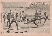 BOYS PLAYING BASEBALL + Article on the SPORT, antique engraving original 1887