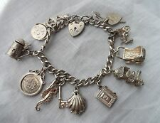 Vintage Solid Sterling Silver NUVO Bible & OPENING CHARMS 12 Bracelet - 47g