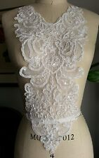 "19"" Long PEARL & SEQUIN Neckline Applique (BRIDAL GOWN) WHITE ***AMAZING***"