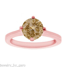 14K ROSE GOLD FANCY BROWN CHAMPAGNE DIAMOND SOLITAIRE ENGAGEMENT RING 1.01 CARAT