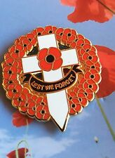 "Poppy Wreath with Cross "" Lest We Forget"" Remembrance Day Poppy badge * NEW 2016"