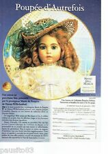 PUBLICITE ADVERTISING 126  1992  Porcelaine Franklin  poupée Hanau Doll Museum