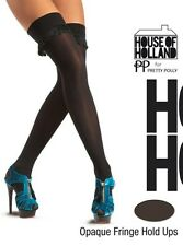 House of Holland Pretty Polly Opaque Fringe Hold Ups - Black Color - One Size