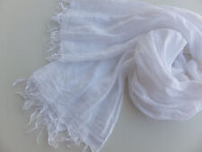 Pure White Scarf Wrap Shawl 100% Linen Lightweight Long Large Fringe Solid Plain