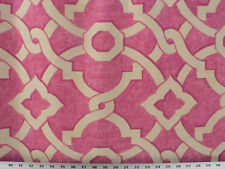 Drapery Upholstery Fabric 18K DblRubs Linen-Look Cotton Geometric - Pink/Natural