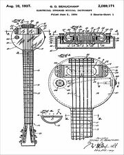 Vintage 1937 Rickenbacker Frying Pan Lap Steel Guitar Patent Print 8 x 10