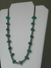 """Native American Turquoise Nugget Heishi Shell Necklace 23"""""""