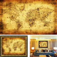 Retro Estilo Vintage Tela Póster Globe Old World Náutico Map Regalos Marea