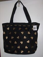Lesportsac Hailey Tote Razzmatazz Print ~ Black with Gold Hearts RARE NWT 3247