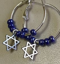 Beautiful Blue Star Of David Dangle Earrings