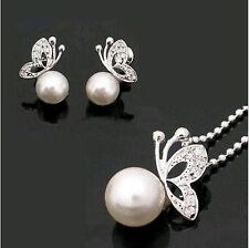 New Fashion Cute Silver Color Rhinestone Butterfly Pearl necklace Set For Women