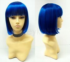 """Blue Short Bob Wig Straight Bangs Synthetic Cosplay Page Boy 9"""""""