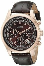 Guess Men's Sport Chronograph Gold Tone Brown Leather Strap Watch - U0500G3