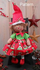 PATTERN Christmas Raggedy Baby Girl Elf Cloth Doll Primitive Folk Art Holiday 75