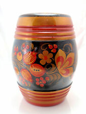 Russian Hand Painted Khokhloma Red and Gold Berry Wooden Food Container