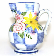 Andrea Sadek Hand Painted Yellow Sunflower Pink Rose Blue Checkered Pitcher Mint