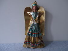 ANTIQUE NUREMBERG GOLDEN ANGEL TREE TOPPER CERAMIC HEAD 1920/1930 ORIGINAL BOX