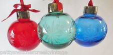 LENOX Cut Crystal Ornament Set Of 3 Red Blue Green-1991