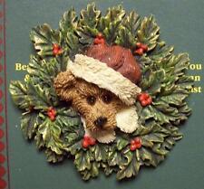 BOYDS BEAR PIN, HOLLY, CHRISTMAS WREATH