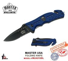 Master USA Blue Folding Knife Spring Assisted 1/2 Serrated Skull Logo MU-A010BL