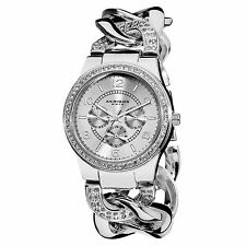 Women's Akribos XXIV AK558SS Crystal Multifunction Twist Chain Bracelet Watch