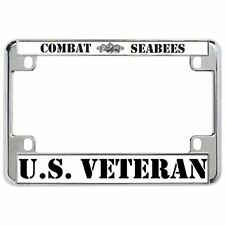 COMBAT SEABEES U.S. VETERAN Military Metal Motorcycle License Plate Frame Tag