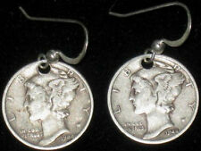 ANTIQUE 1944 LIBERTY MERCURY DIME STERLING SILVER VINTAGE DANGLE COIN EARRINGS