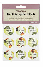 Kitchen Craft HERB and SPICE jar LABELS pack of 45 self adhesive  coloured 30mm