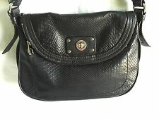 MARC BY MARC JACOBS NATASHA TOTALLY TURNLOCK BLACK LEATHER CROSSBODY HANDBAG